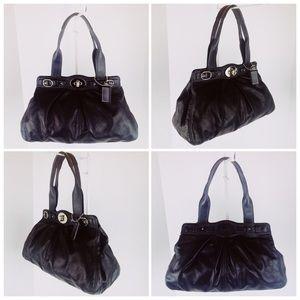 Coach 'Garnet' Pleated Black Leather Satchel Bag